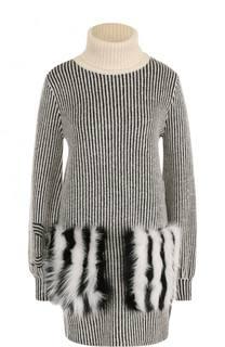 Шерстяное мини-платье с отделкой из меха лисы Fendi