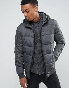 Дутая куртка с капюшоном Solid - Серый !Solid