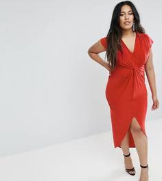 Платье миди с короткими рукавами и узелком Club L Plus - Красный