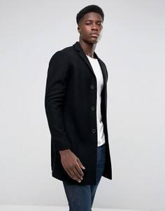 Пальто из ткани с добавлением шерсти и кашемира Selected Homme - Черный