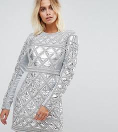 Платье мини с декоративной отделкой A Star Is Born - Серебряный
