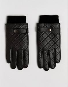 Черные кожаные перчатки со стеганой отделкой ASOS - Черный