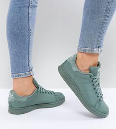 Атласные стеганые кроссовки цвета хаки adidas Originals Stan Smith - Зеленый b24ce7f19b9