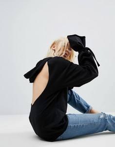Худи с открытой спиной и отделкой на манжетах ASOS - Черный