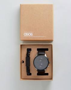Черные часы и браслет в подарочном наборе ASOS - Черный