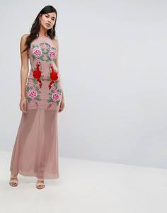 Платье макси с кружевной аппликацией и шлейфом NaaNaa - Бежевый