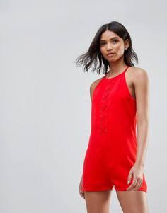 Ромпер со шнуровкой Neon Rose - Красный