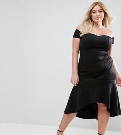 Платье с оборкой на подоле Club L Plus - Черный