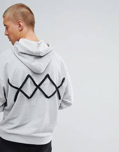 Оверсайз-худи со шнуровкой на спине ASOS - Серый