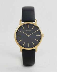 Часы с черным кожаным ремешком Timex TW2R36400 Skyline 34 мм - Черный