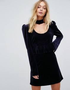 Бархатное платье с оборками Millie Mackintosh - Темно-синий