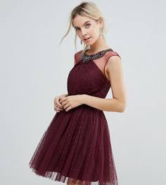 Короткое приталенное платье для выпускного с декоративной отделкой Little Mistress Petite - Красный