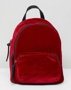 Бархатный маленький рюкзак New Look - Красный