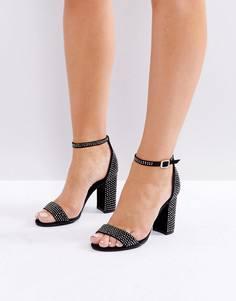 Босоножки на каблуке со стразами New Look - Черный