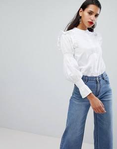 Хлопковая блузка с оборками Neon Rose - Белый