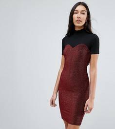 Блестящее облегающее платье с сетчатым топом и высоким воротником Noisy May Tall - Черный
