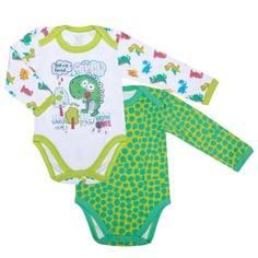 Боди с длинным рукавом детский, комплект 2 шт., Barkito «Дракоши», белый с рисунком, зеленый с рисунком