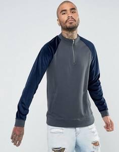 Спортивная куртка с молнией и велюровыми рукавами ASOS - Темно-синий