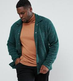 Зеленая фактурная трикотажная куртка Харрингтон ASOS PLUS - Зеленый