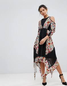 Платье с цветочным принтом и бархатными вставками Frock And Frill - Мульти