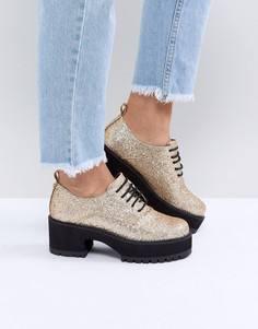 Массивные туфли на каблуке со шнуровкой ASOS OMEGA - Золотой