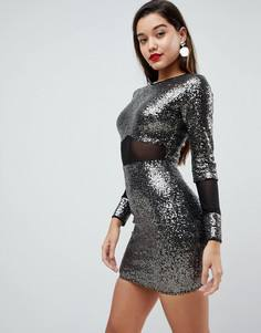 Платье мини с пайетками и сетчатыми вставками ASOS - Серебряный