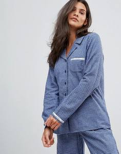 Пижамный топ в клетку Calvin Klein - Темно-синий