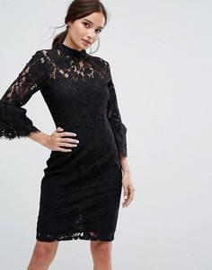 Кружевное платье миди с высоким воротом и двойными оборками на рукавах Paper Dolls - Черный