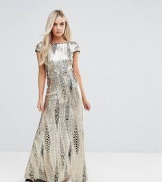 Платье макси с пайетками и юбкой годе TFNC Petite - Золотой