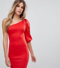 Облегающее платье на одно плечо с пышным рукавом Boohoo - Красный