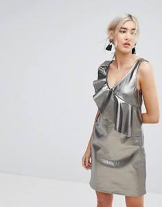 Свободное платье металлик с оборкой Vila - Серый