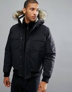 Черная куртка с мехом на капюшоне Jack Wolfskin Brockton - Черный