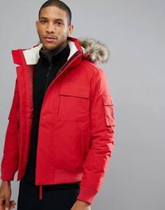 Красная куртка с меховой отделкой на капюшоне Jack Wolfskin Brockton - Красный