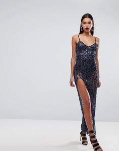 Платье макси с пайетками и разрезом NaaNaa - Темно-синий