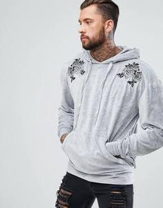 Серый велюровый худи с вышивкой boohooMAN - Серый