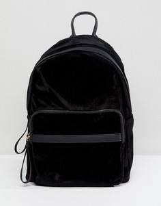 Черный бархатный рюкзак New Look - Черный