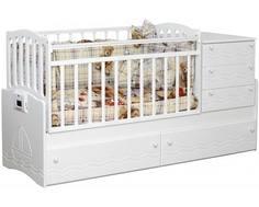 Кроватка-трансформер Daka Baby «Укачай-ка 03» белая Dakababy