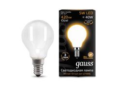 Лампочка Gauss LED Filament Globe Opal E14 5W 2700K 105201105
