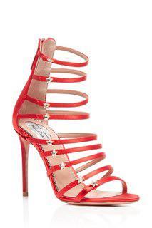 Босоножки из красного сатина Aquazzura x Claudia Schiffer