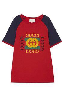 Футболка с принтом красная Gucci
