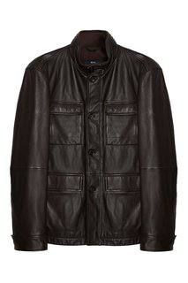 Кожаный пиджак с карманами Boss