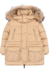Пуховая куртка  с меховой отделкой на капюшоне Il Gufo