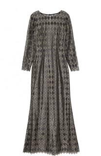 Приталенное платье-макси с длинным рукавом St. John
