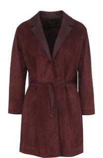 Замшевое пальто с кожаным ремнем Loro Piana