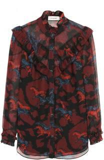 Блуза прямого кроя с воротником-стойкой и принтом Coach