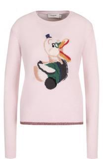 Кашемировый пуловер прямого кроя с принтом Coach