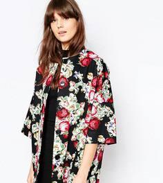 Пальто с рукавами-кимоно с принтом в виде вышивки Helene Berman - Черный