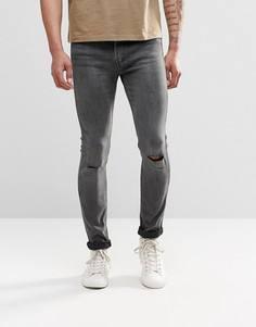 Супероблегающие рваные джинсы Levis Line 8 519 - Серый
