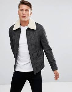 Шерстяная куртка в клетку с воротником из искусственного меха Stanley Adams - Черный