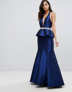 Платье макси с баской и декоративной отделкой Jovani - Темно-синий